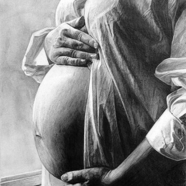 Maternity art. Pregnant mother. Art by R