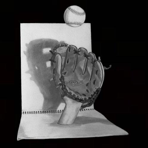 "ART PRINT | Baseball Glove catch | 10.5"" x 11"""