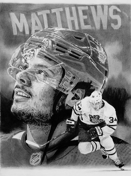 "SPORTS PRINT | Auston Matthews Maple Leafs  | 10 3/4"" x 14"""