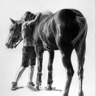 Equestrian art. Horse and her girl_