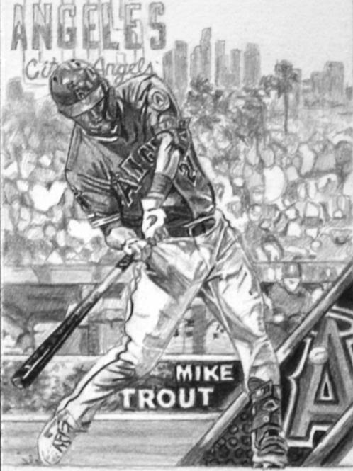 ORIGINAL ART | Baseball card | Mike Trout