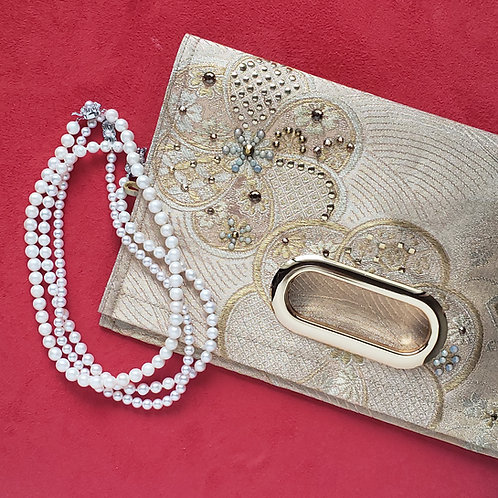 KIMONO Clutch Bag with Crystals Gold Plum