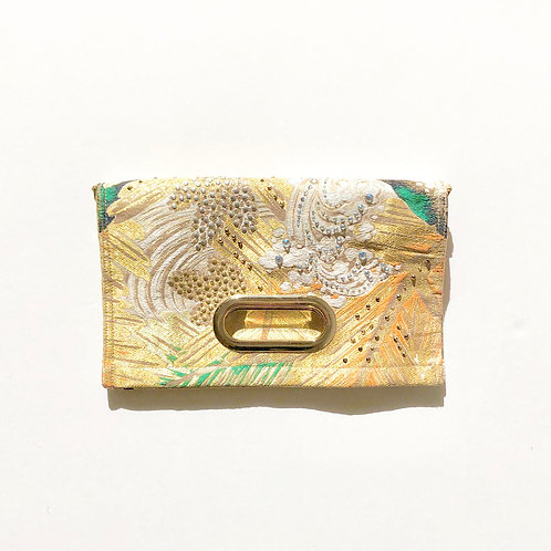 KIMONO Clutch Bag with Crystals  Gold Pine tree
