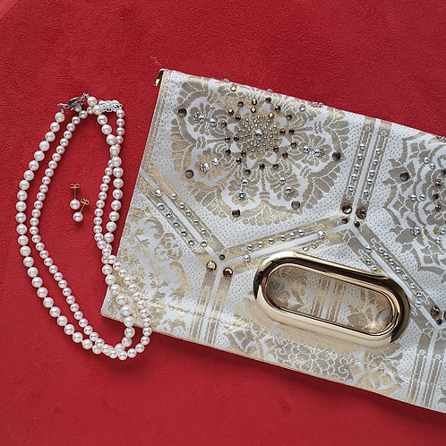 KIMONO Clutch Bag with Crystals Gold & White