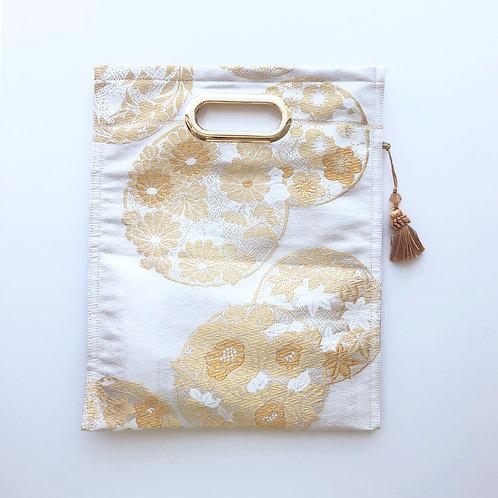 KIMONO Clutch Bag White with Gold Flowers