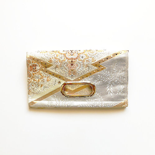 KIMONO Clutch Bag with Crystals White & Gold