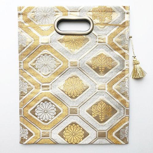 KIMONO Clutch Bag Gold & Silver Chrysanthemum