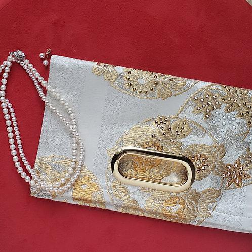 KIMONO Clutch Bag with Crystals Chrysanthemum