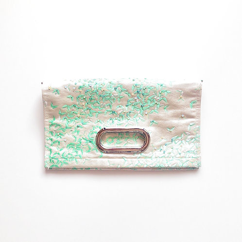 KIMONO Clutch Bag with Crystals Light Green Butterfly