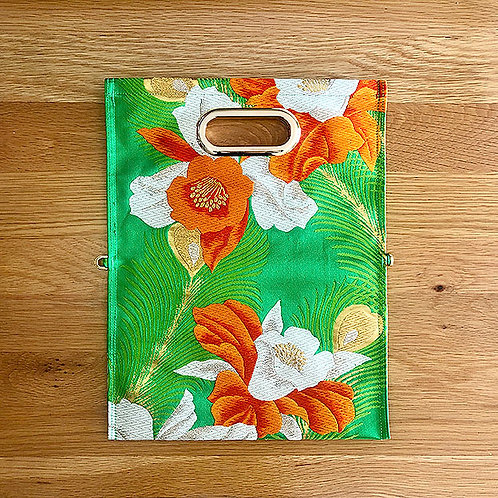 KIMONO Clutch Bag  Flowers on Green