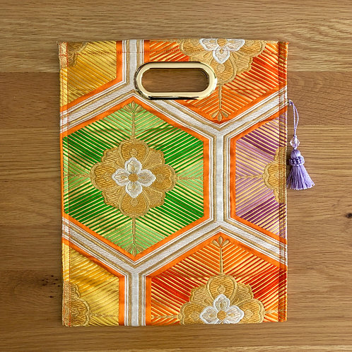 KIMONO Clutch Orange Hexagon