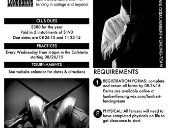 Lambert Fencing Club Flyer 2015-2016
