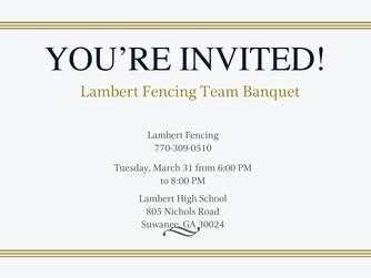Lambert Fencing Banquet Evite