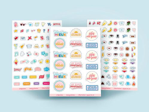 Les 3 planches de stickers - s'organiser autour de son cycle menstruel