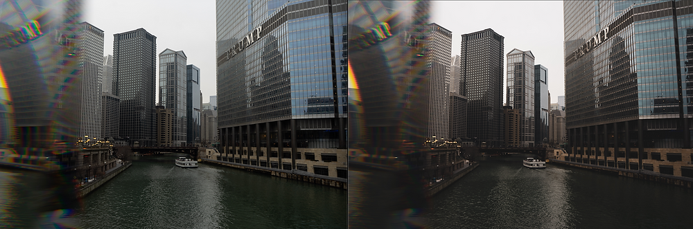 Photograph of a before and after using a Lightroom photo editing preset designed by Brian James. The photo is of the Chicago River using a prism.