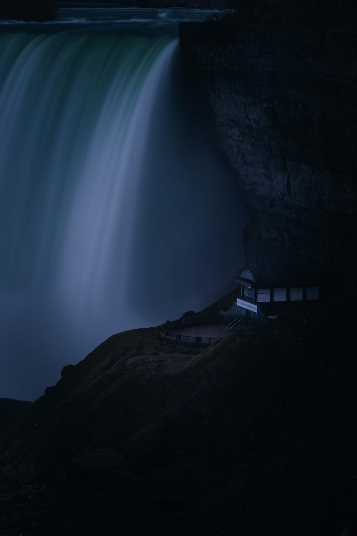 Dark edit of the Niagara Falls using Adobe Lightroom. Long exposure of a waterfall.