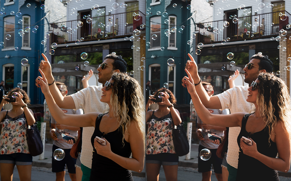 Street festival in Toronto Ontario Canada where pedestrians are caught playing with bubbles in this warm summer photograph captured by Mr Brian James.