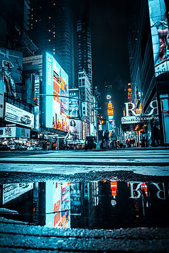 Neon and Gotham City photo of Time Square in New York City. Stunning cityscape photography by Mr Brian James