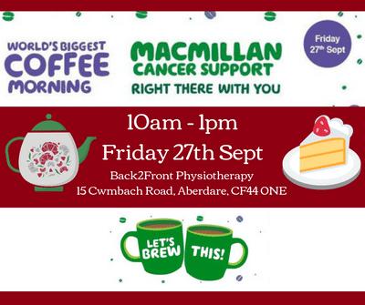 Macmillan Coffee Morning 27th September 2019