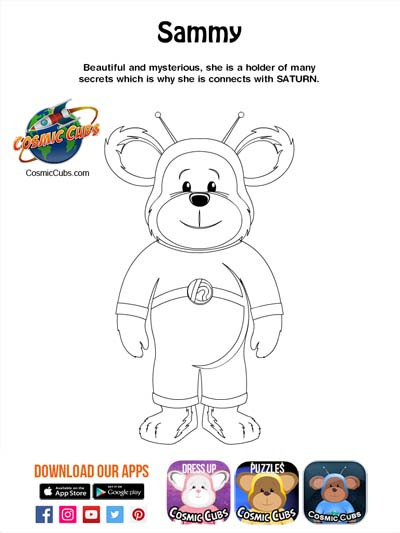Cosmic Cubs Coloring Page - Sammy -Satur