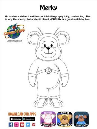 Cosmic Cubs Coloring Page - Merky - Merc