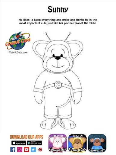 Cosmic Cubs Coloring Page - Sunny - Sun.
