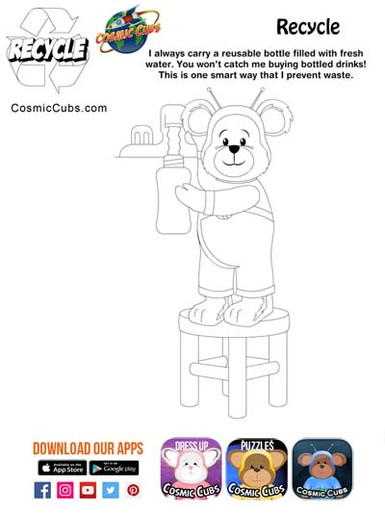 Cosmic Cubs Coloring Page - Recycle 1.jp