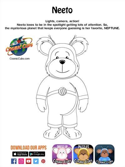 Cosmic Cubs Coloring Page - Neeto - Nept