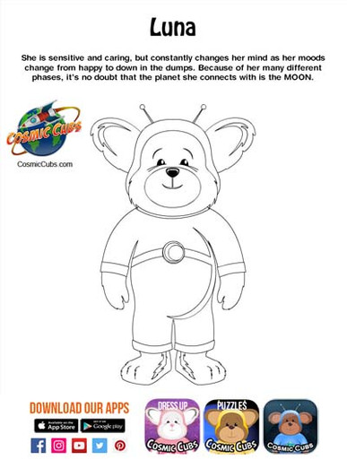 Cosmic Cubs Coloring Page - Luna - Moon.