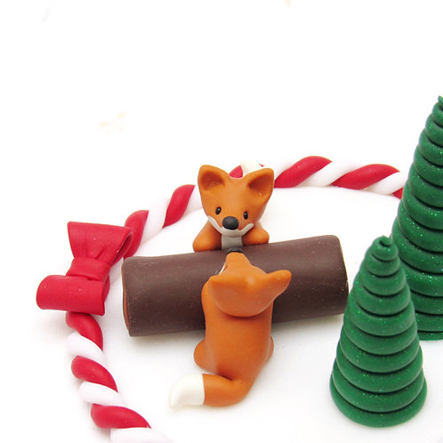 Fox Christmas cake decoration