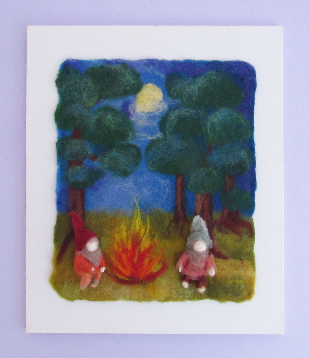 Felted gnome woodland picture