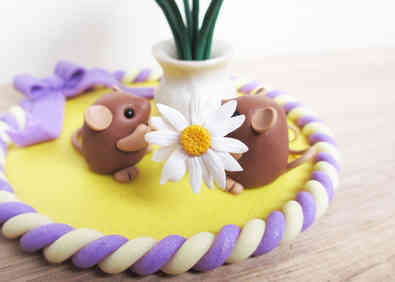 Mice and wildflowers cake topper