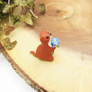Weasel miniature ornament with forget me nots
