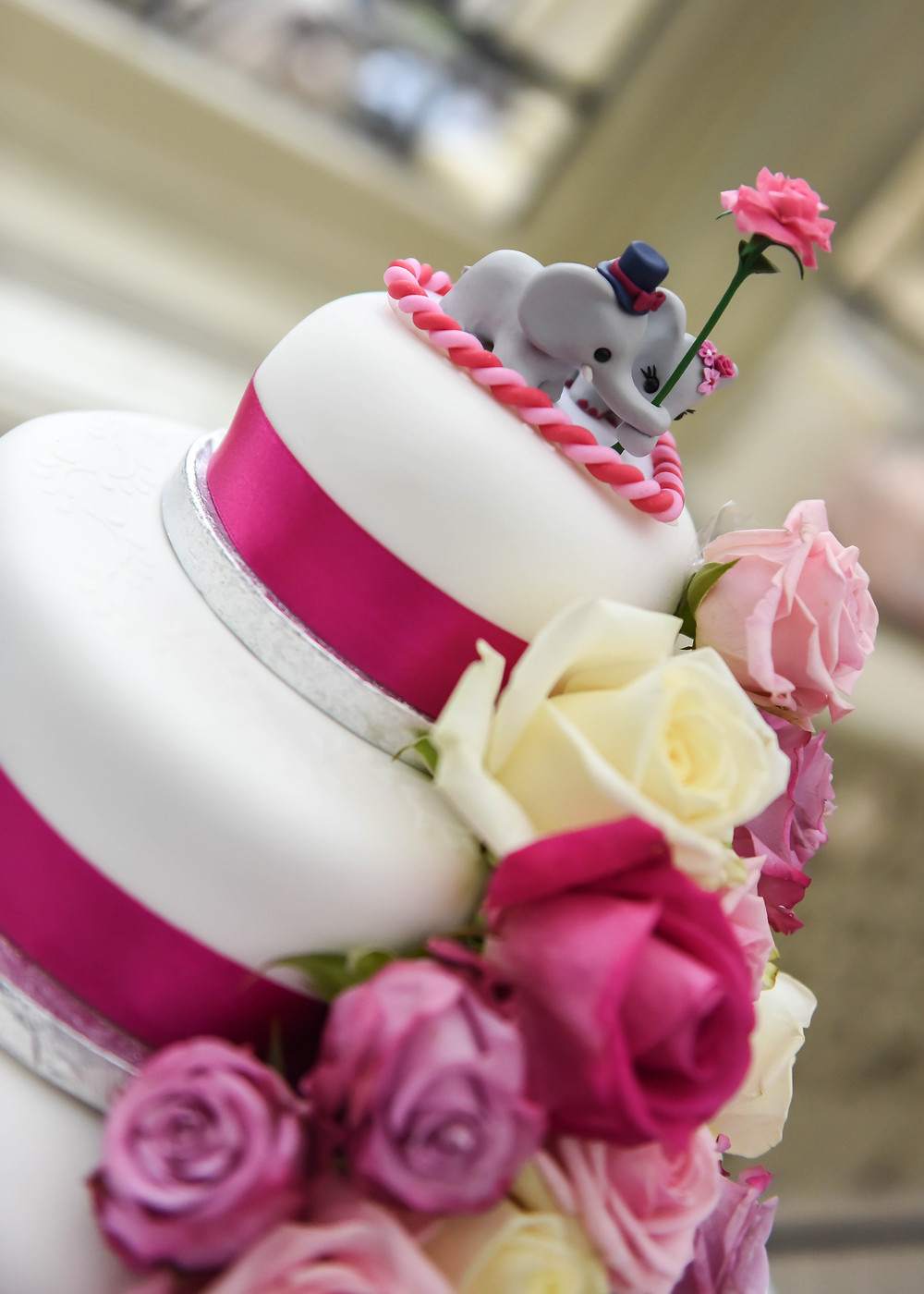 Elephant with rose wedding cake topper