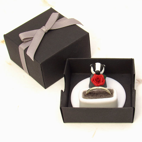 Handmade Engagement Ring Box With Badger Keepsake Ring Holder