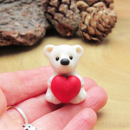 Polar Bear Ornament with Heart