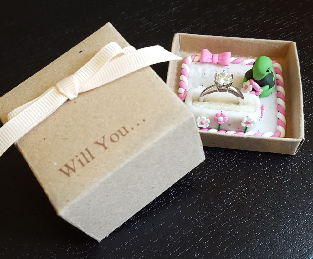 Turtle engagement ring box