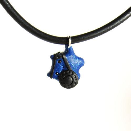 Blue brave warrior choker necklace