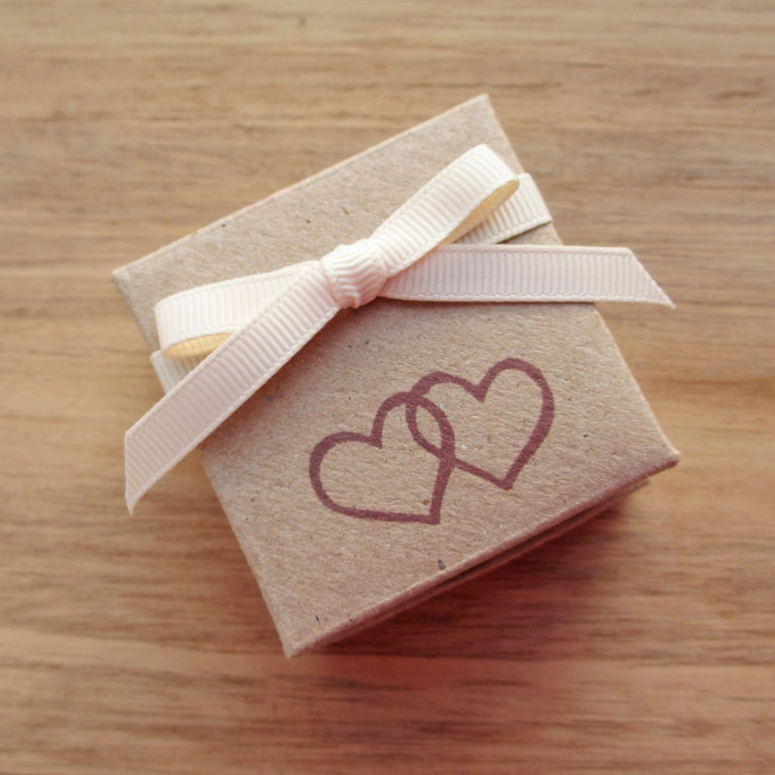 Recycled card engagement ring box with red hearts and ivory ribbon