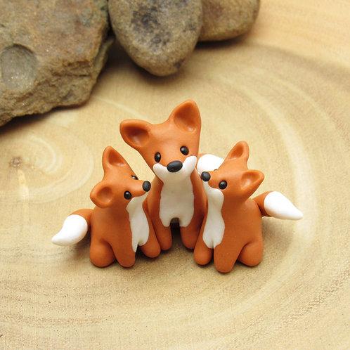 Tiny fox family ornament
