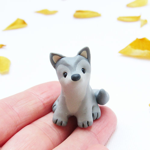 Tiny wolf cub ornament