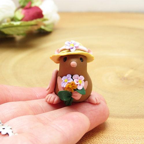 Rat in a Flower Bonnet Ornament