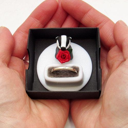Badger engagement ring holder