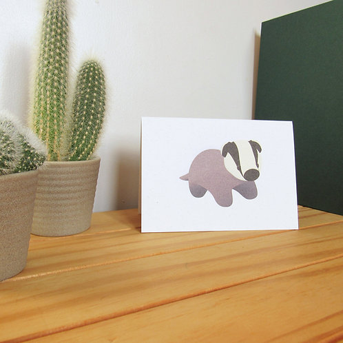 Recycled badger greetings card