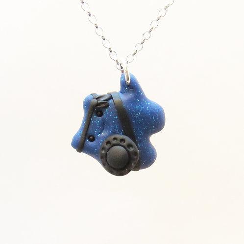 Blue brave warrior sterling silver necklace