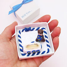 Handmade Animal Engagement Ring Box with Otter Keepsake Ring Holder