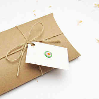 Recycled card gift box with handmade gift tag
