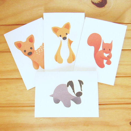 Woodland animal recycled greetings cards