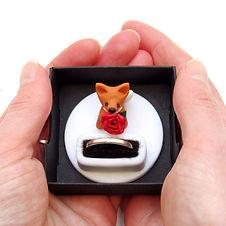 Handmade Engagement Ring Box with Fox Keepsake Ring Holder
