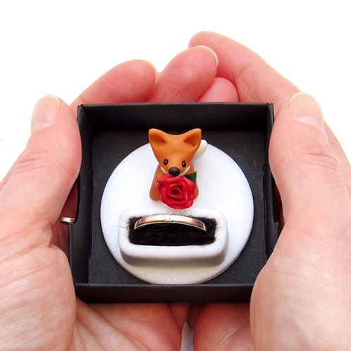 Fox engagement ring box